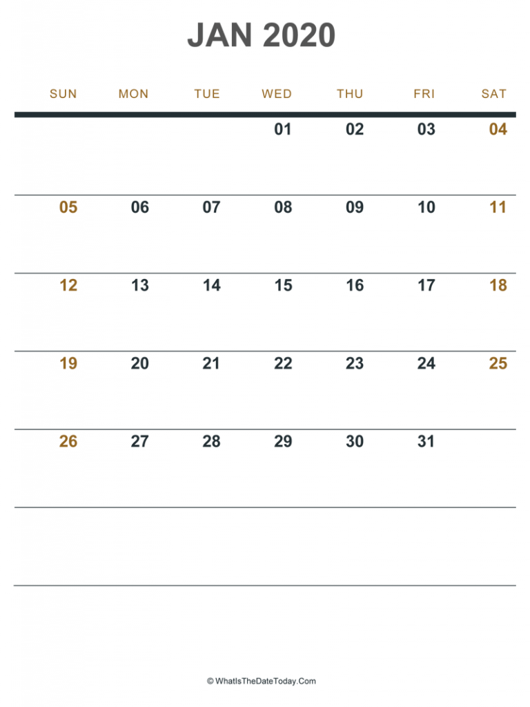 Blank January 2020 Calendar with Notes