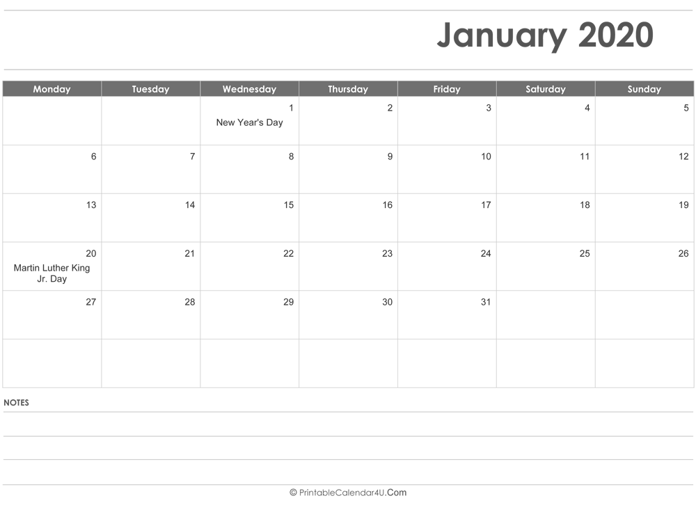 Blank January 2020 Fillable Calendar Templates