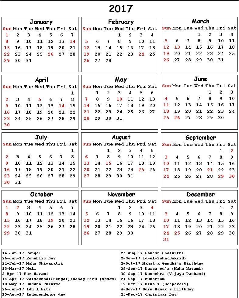 2017 Calendar with India holidays