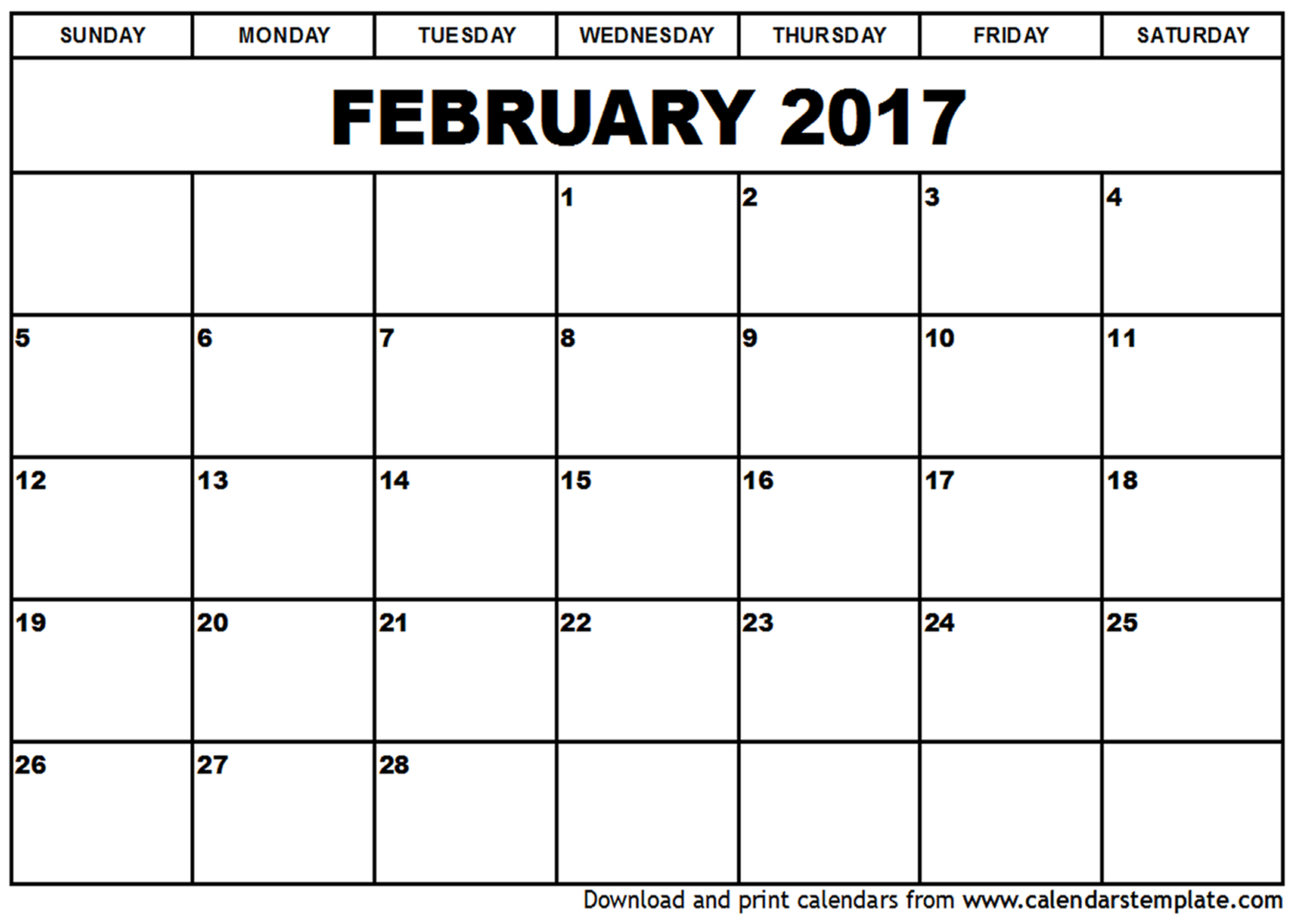 2017 February Calendar Printable Templates PDF Word Doc UK ...