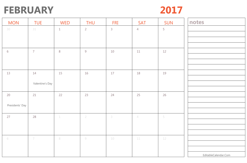February Calendar Printable Templates Pdf Word Doc Uk