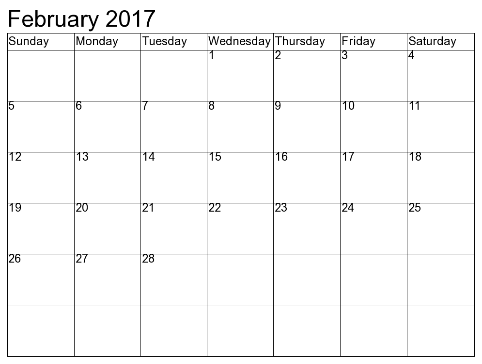Blank Calendar Feb 2017 Template Printable