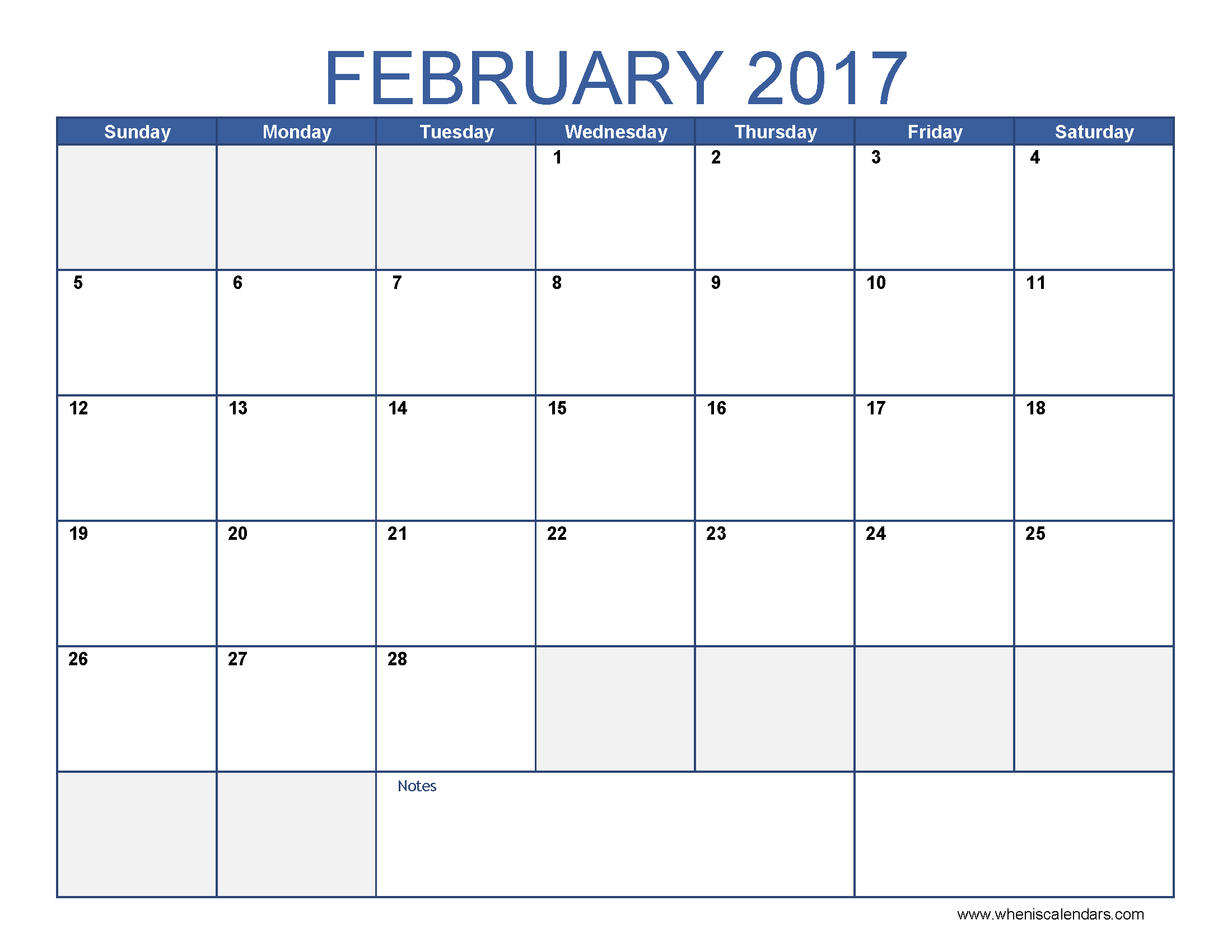 February Blank Calendar 2017 Templates - Blank Feb 2017 Calendar Word