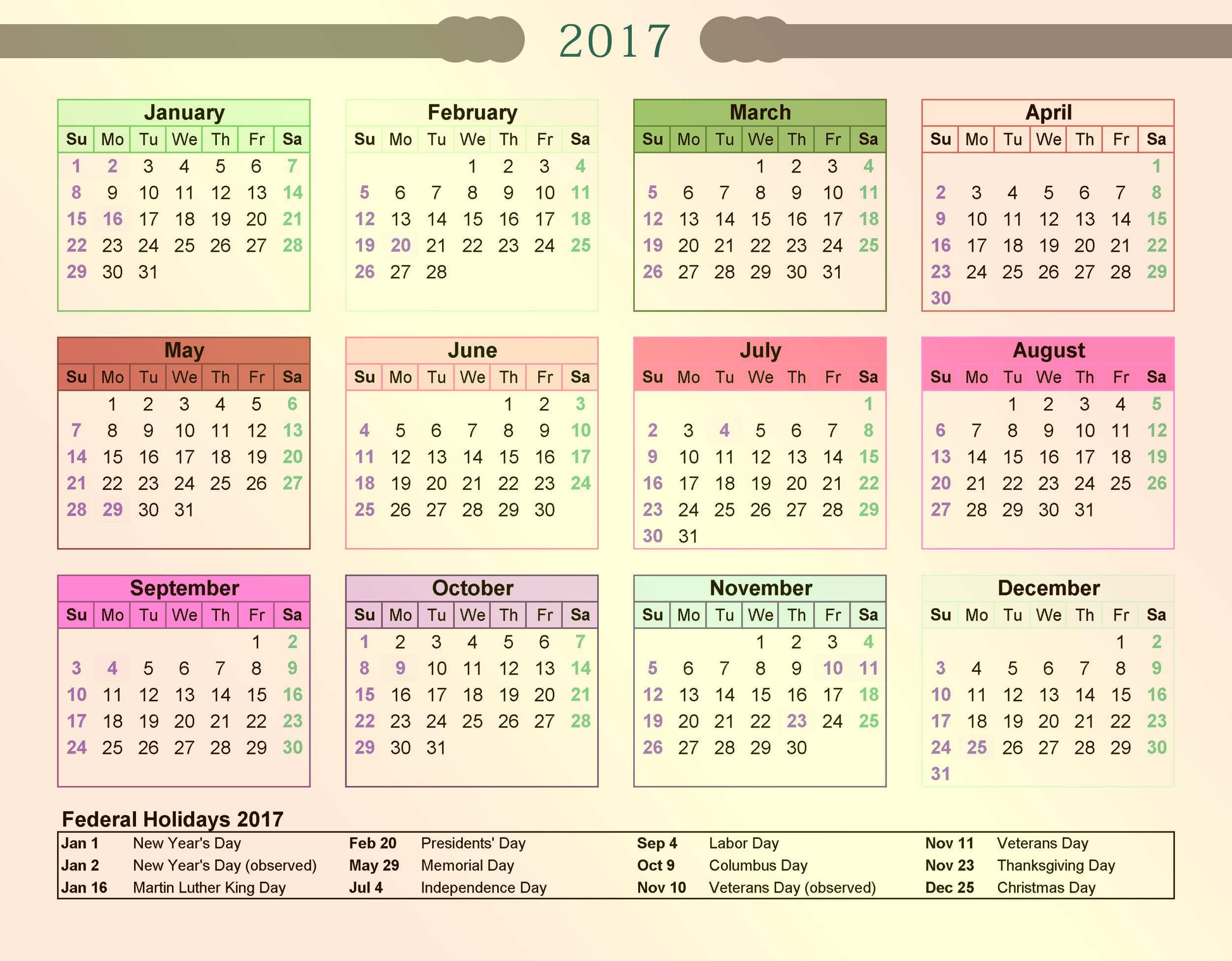free calendar with holidays