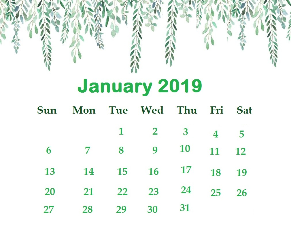 Calendar Wallpaper January 2019