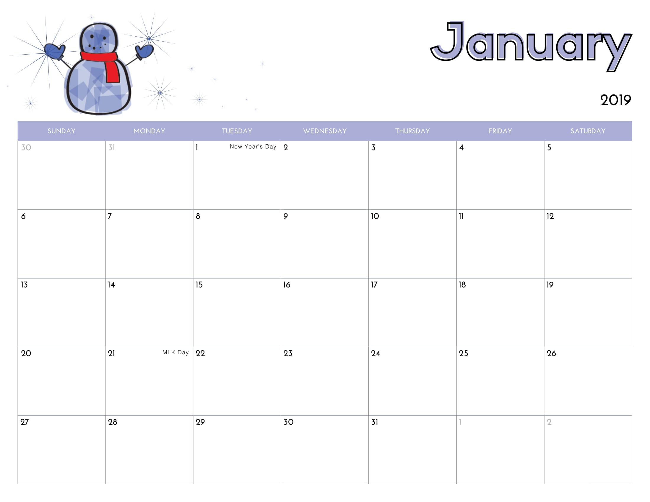 Cute Calendar for January 2019