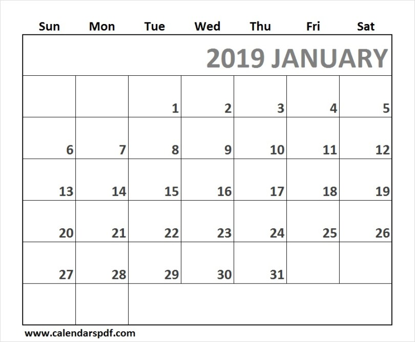Calendar January 2019 Full Page