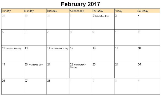 Feb 2017 Calendar Holidays