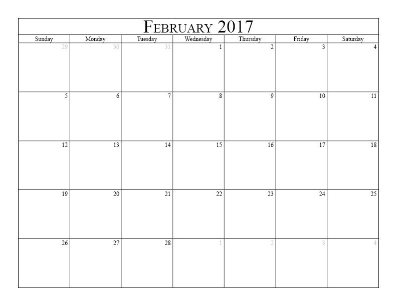 Feb 2017 Monthly Calendar Printable Landscape,Monthly.Printable ...