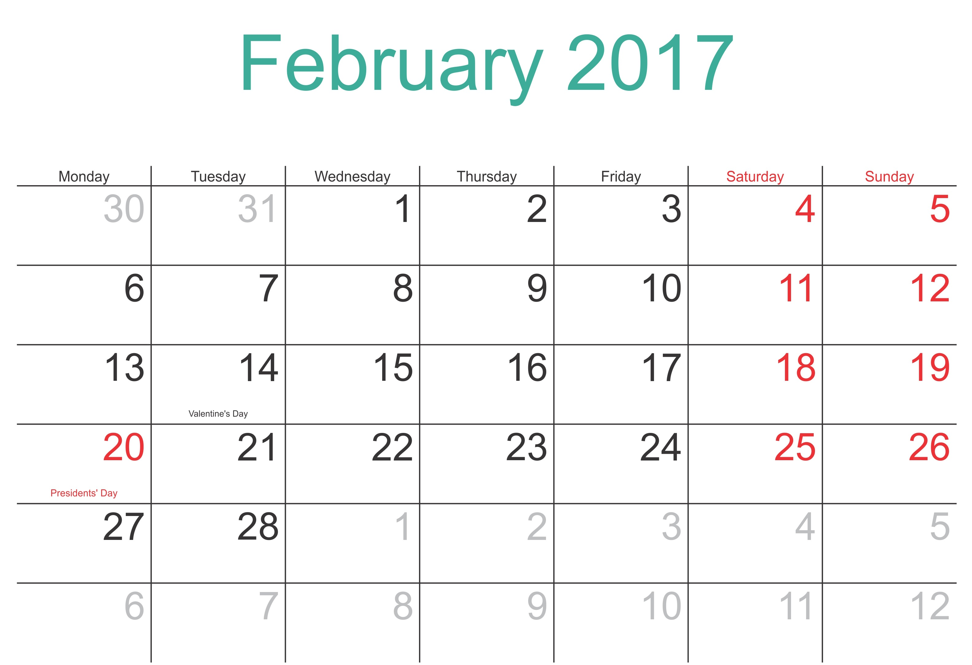 February Blank Calendar 2017 Templates  Monthly Calendar Word Template