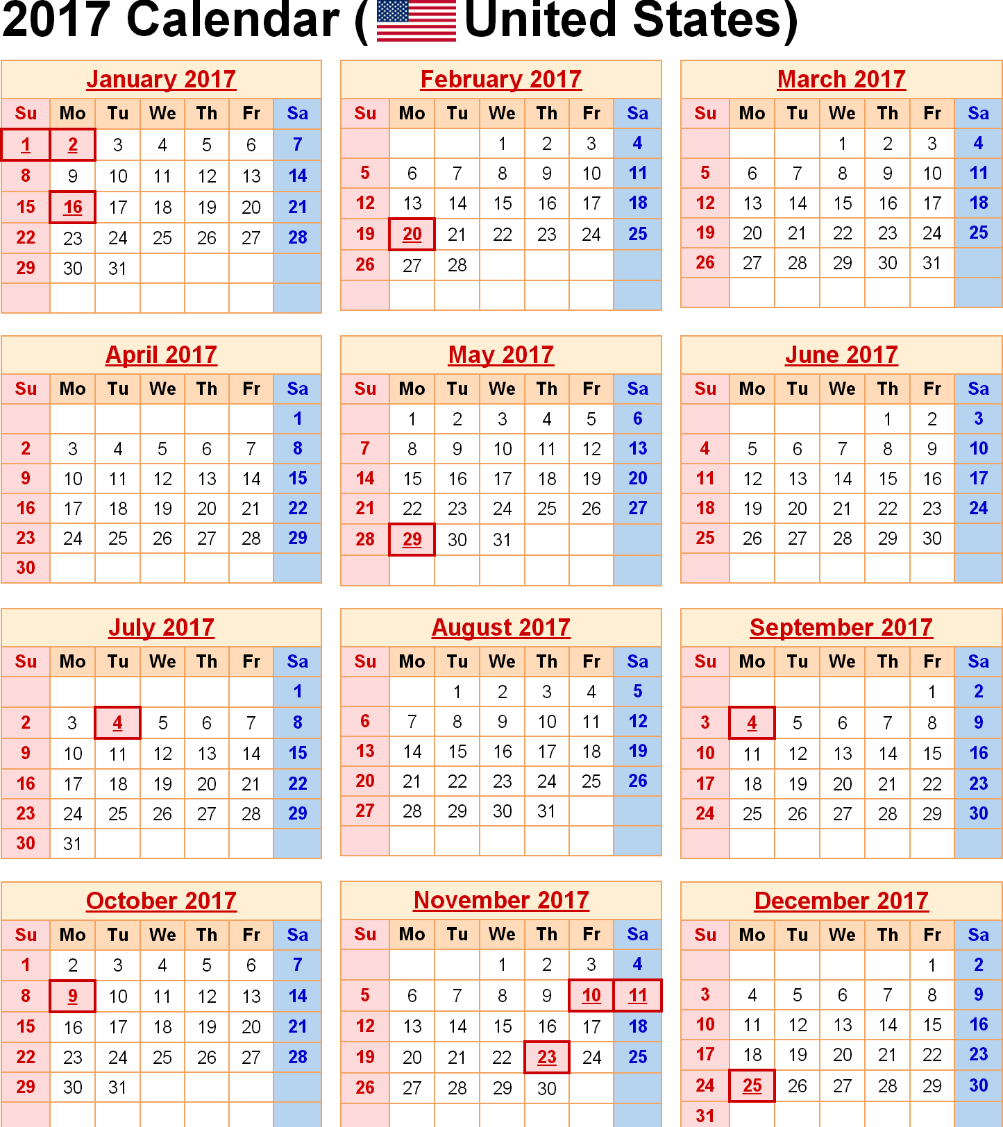 Holiday Calendar Us 2017 Calendar For Year 2017 United States Time And ...