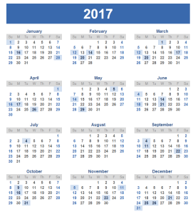 India 2017 Holiday Calendar