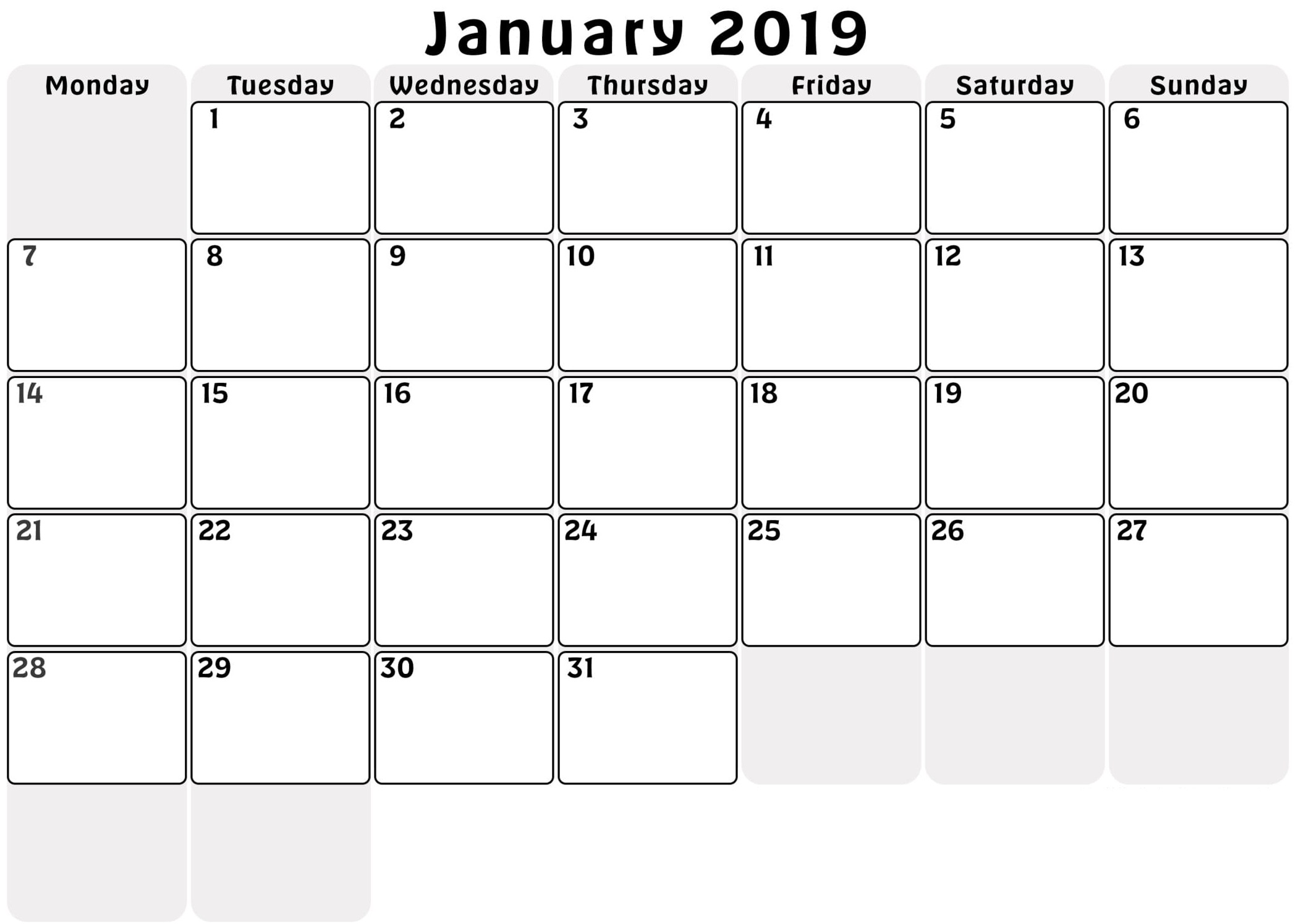 January 2019 Calendar Monthly Printable