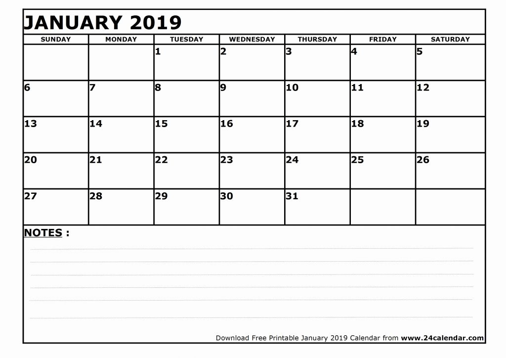 January 2019 Printable Calendar with Notes
