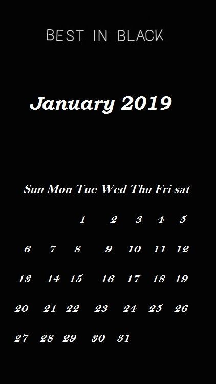Blank Background January 2019 iPhone Calendar