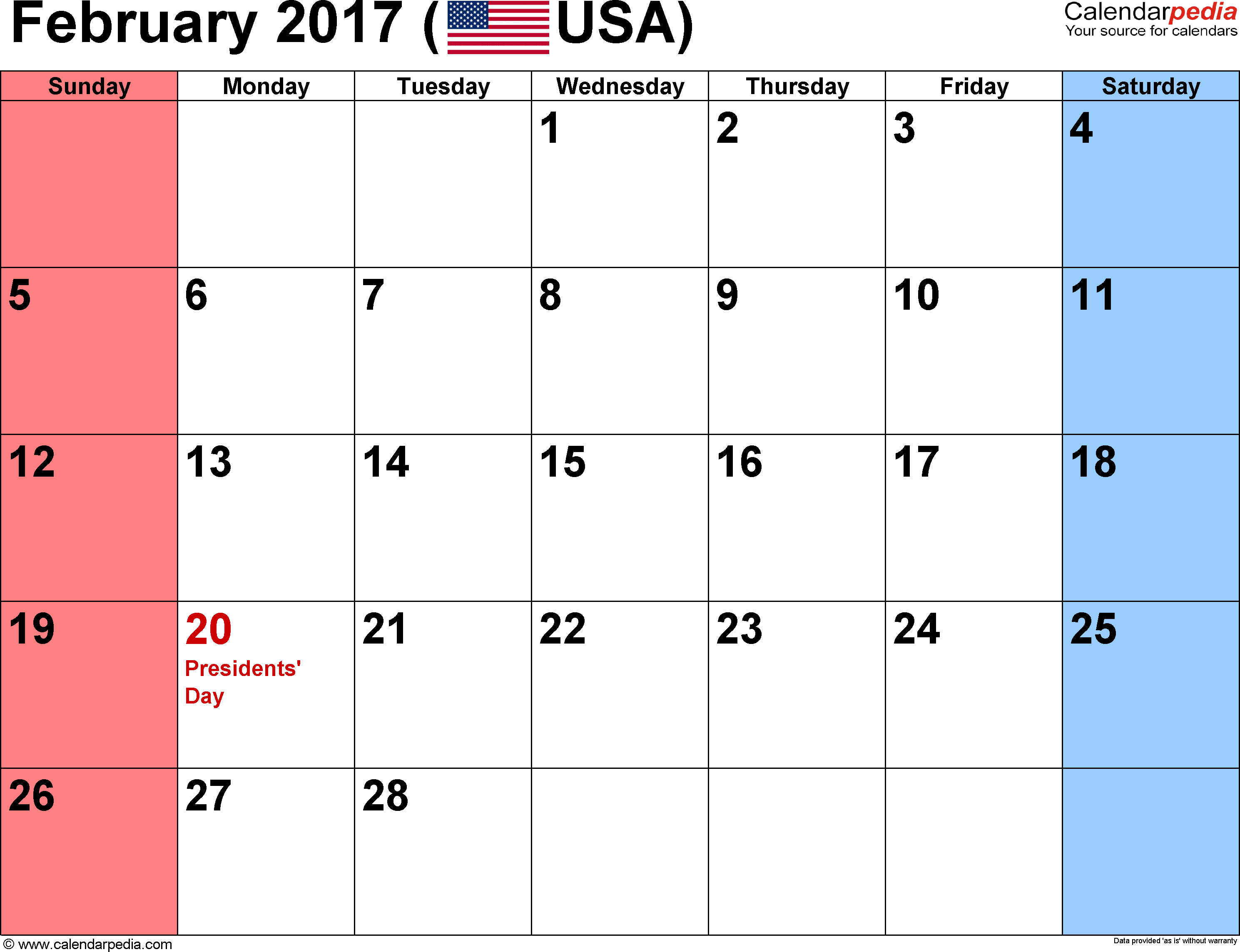Printable February 2017 Calendar with Holidays - US