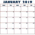 Printable January 2019 Calendar PDF Free Download