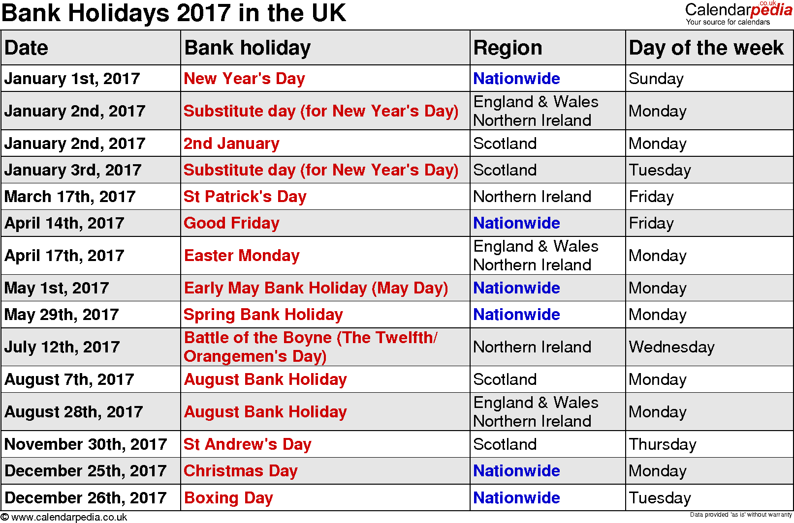 Public Holidays 2017 USA - US Holidays 2017 - Bank Holidays 2017 USA