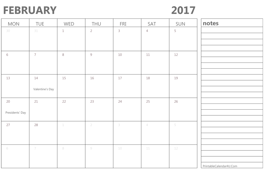 february 2017 calendar printable with holidays