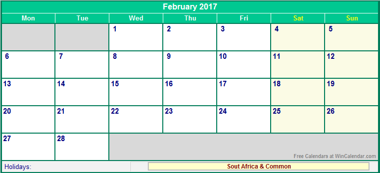 February 2017 Calendar UK USA Canada Singapore India NZ Australia