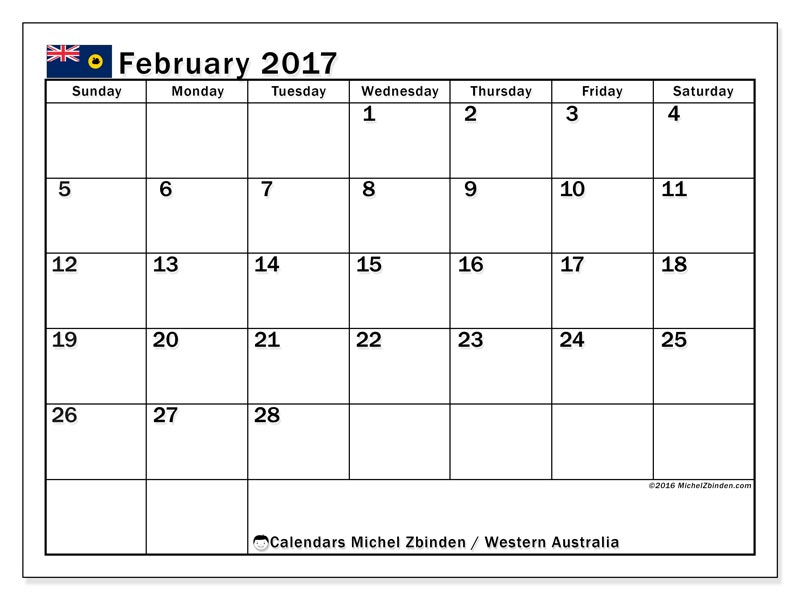 february 2017 calendar with holidays australia
