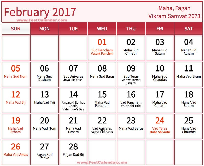 february 2017 calendar with holidays india