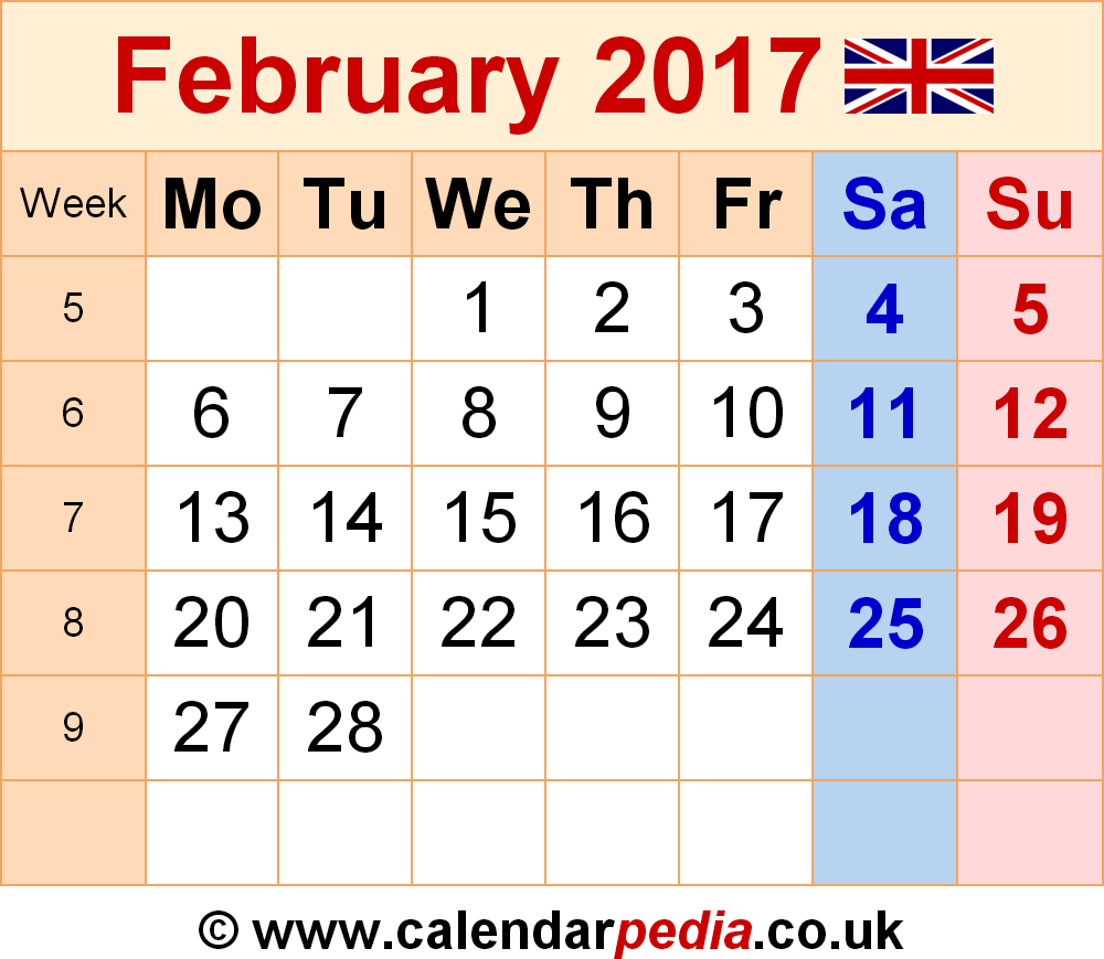february 2017 calendar with holidays uk