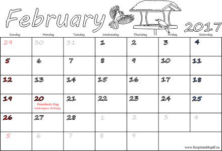 february 2017 calendar with holidays usa