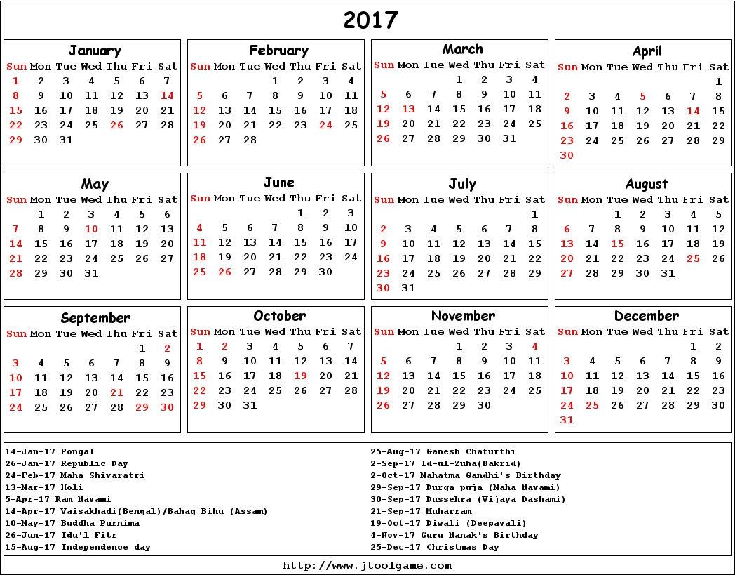 Calendar 2017 With Holidays In India – Printable Pages