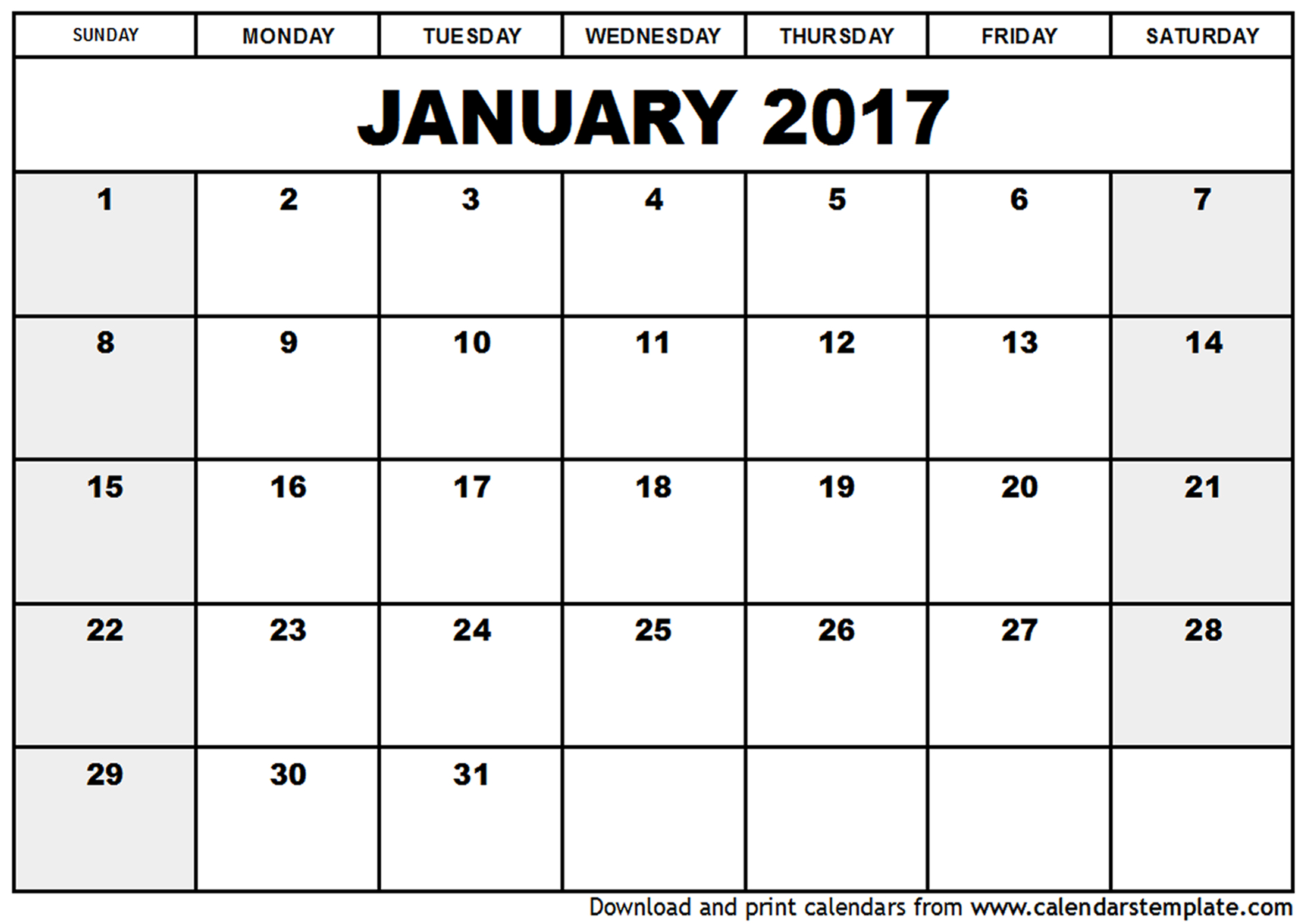 printable january 2017 calendar template