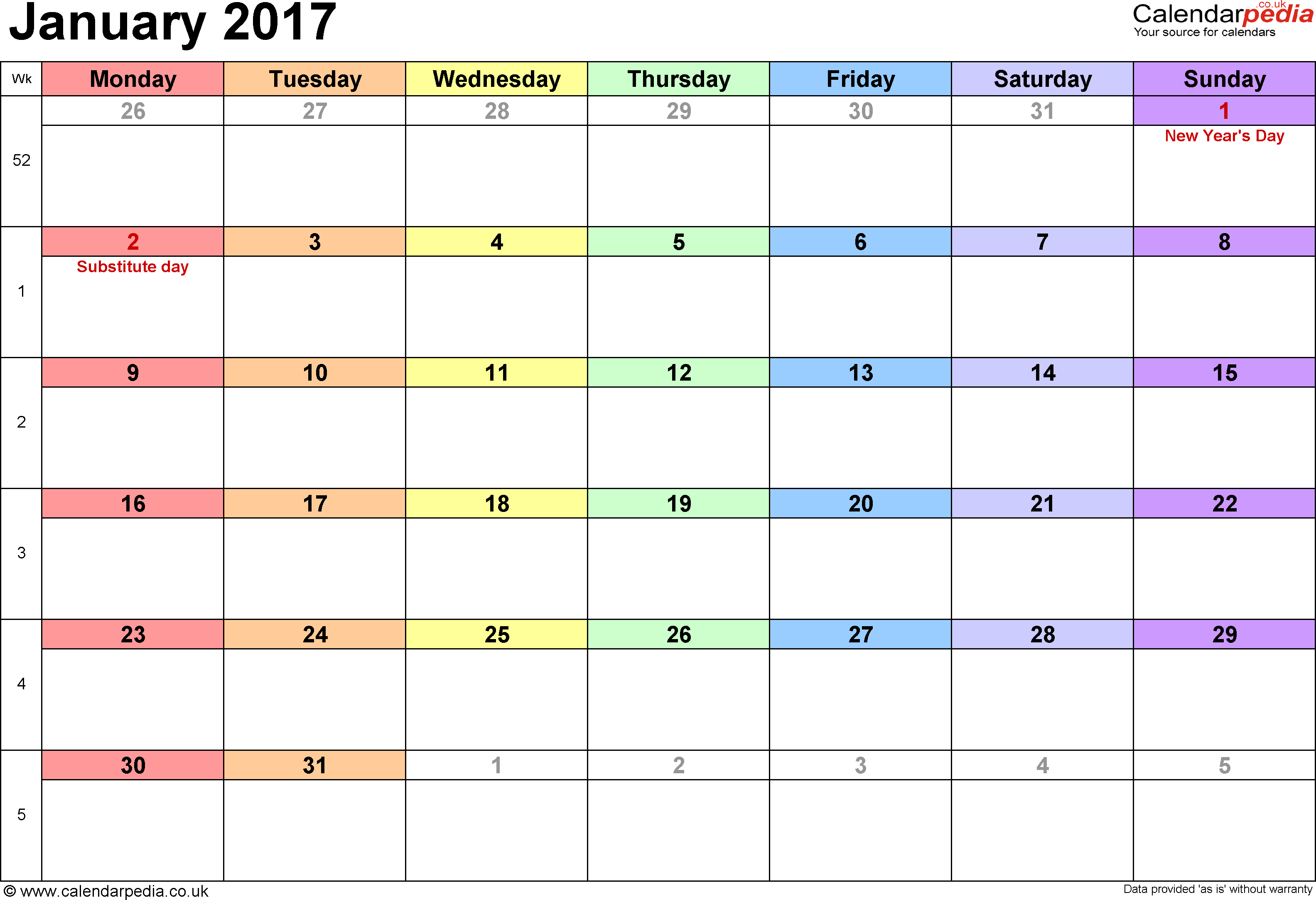 printable january 2017 calendar uk