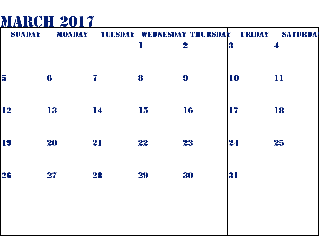2017 Calendar Printable Templates March Month
