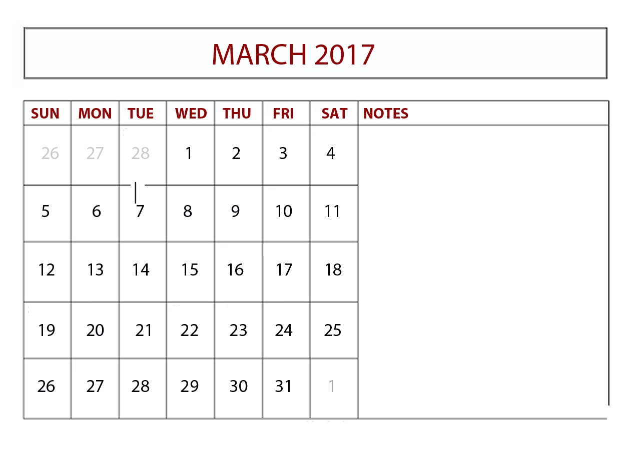 Download 2017 Calendar March Printable