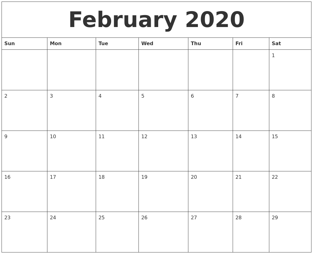 Feb 2020 Large Printable Calendar