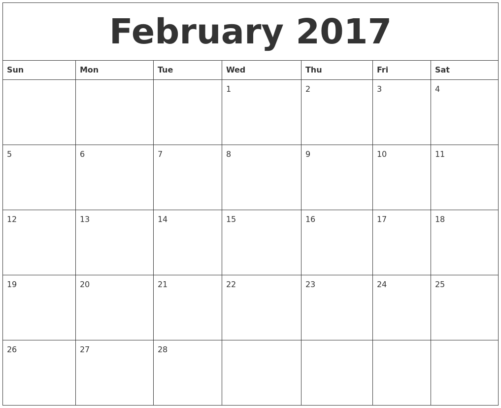 February 2017 Calendar PDF Word Excel Document Sheet Portrait ...