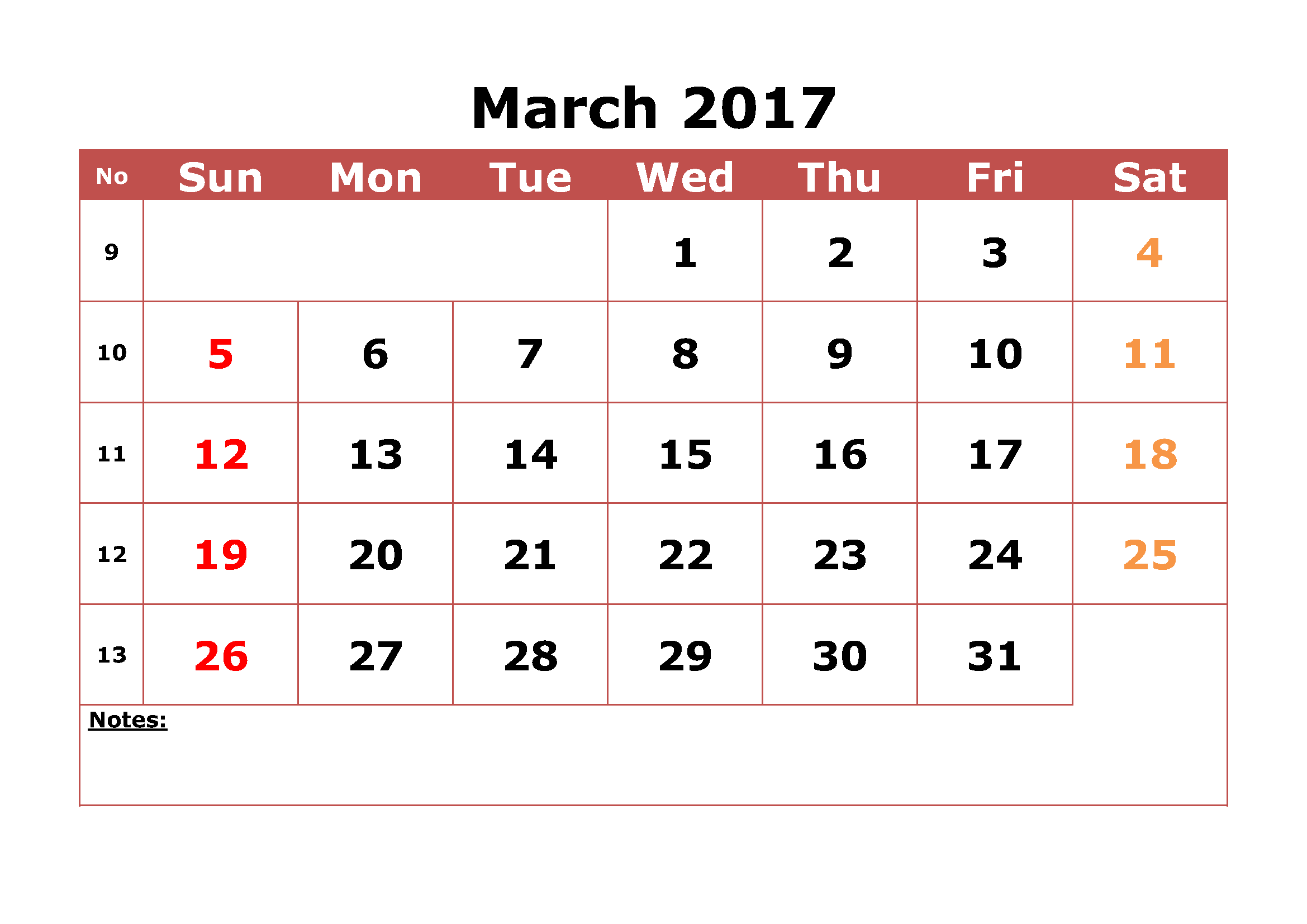 Free 2017 March Calendar With Dates