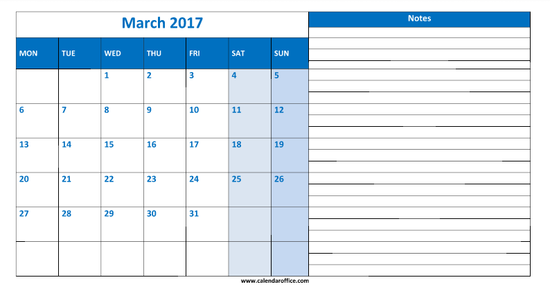March 2017 Notes Calendar Printable