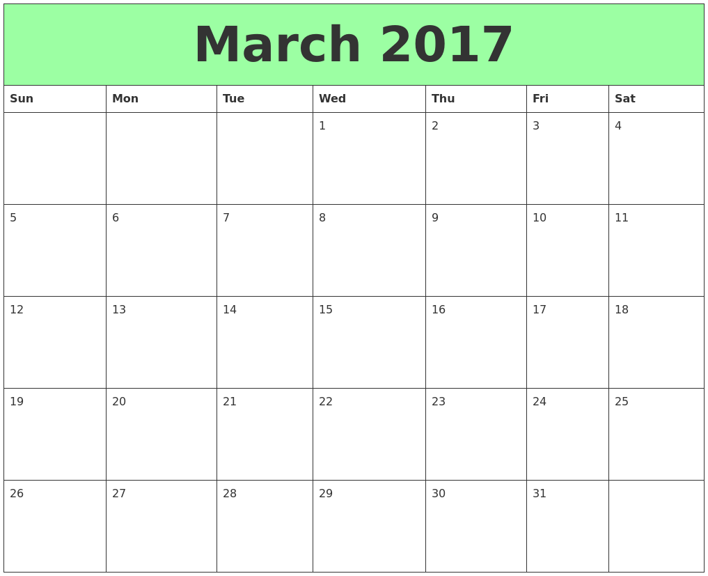 March 2017 Printable Calendars