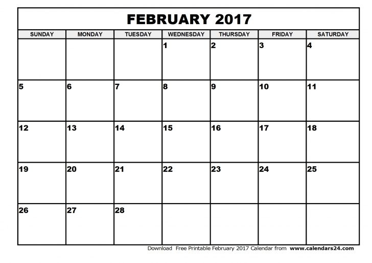 February 2017 Calendar Pdf Word Excel Document Sheet Portrait