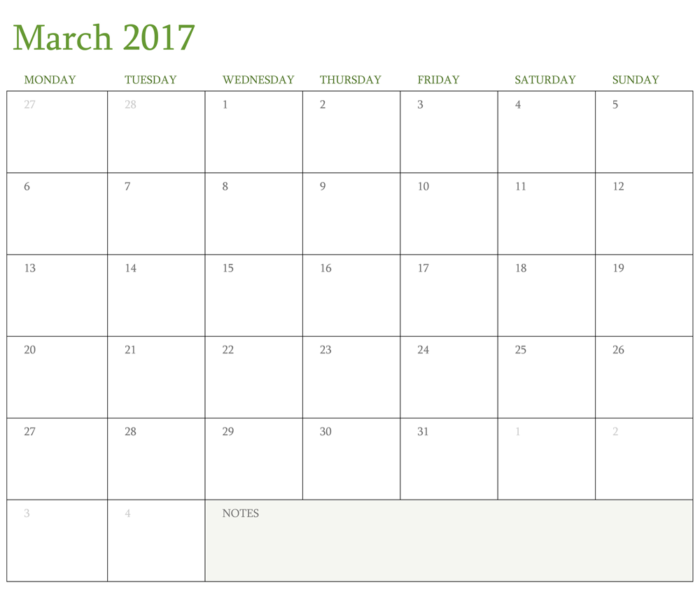 Printable Calendar March 2017 Free Download