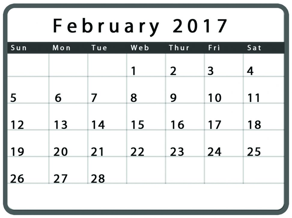Cute February 2017 Calendar Printable Blank Template
