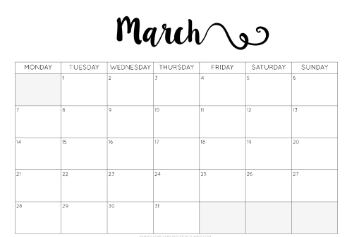 calendar Printable for March Month 2017