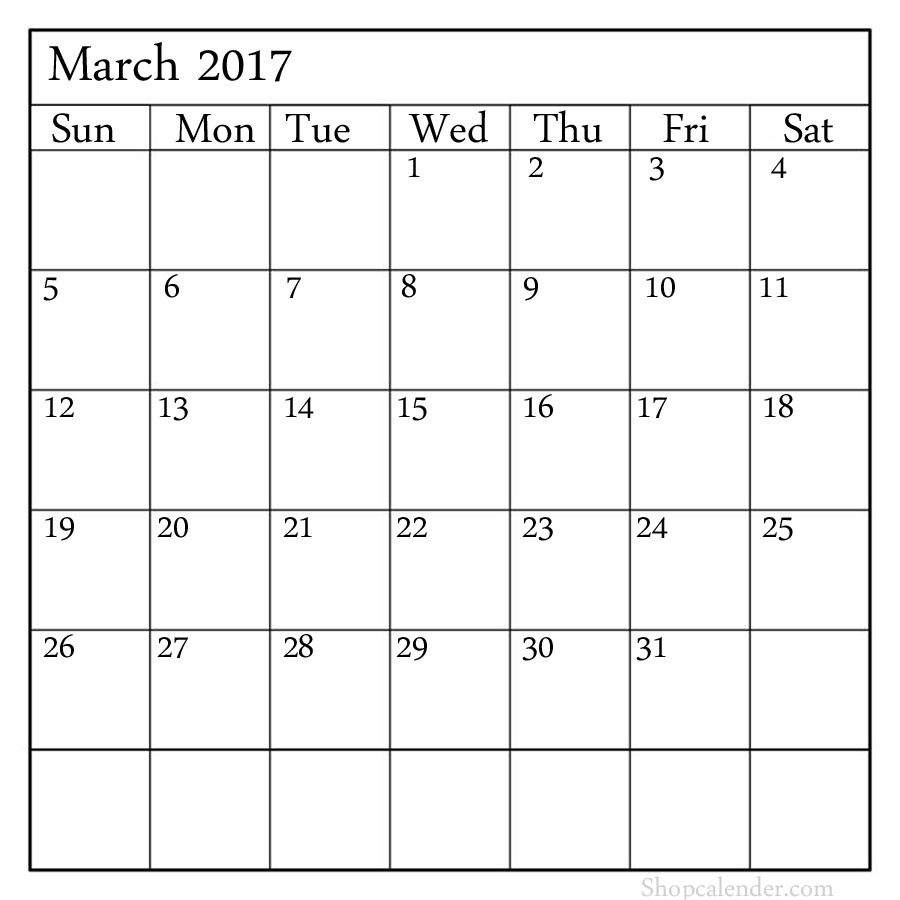 blank march 2017 calendar templates printable pdf