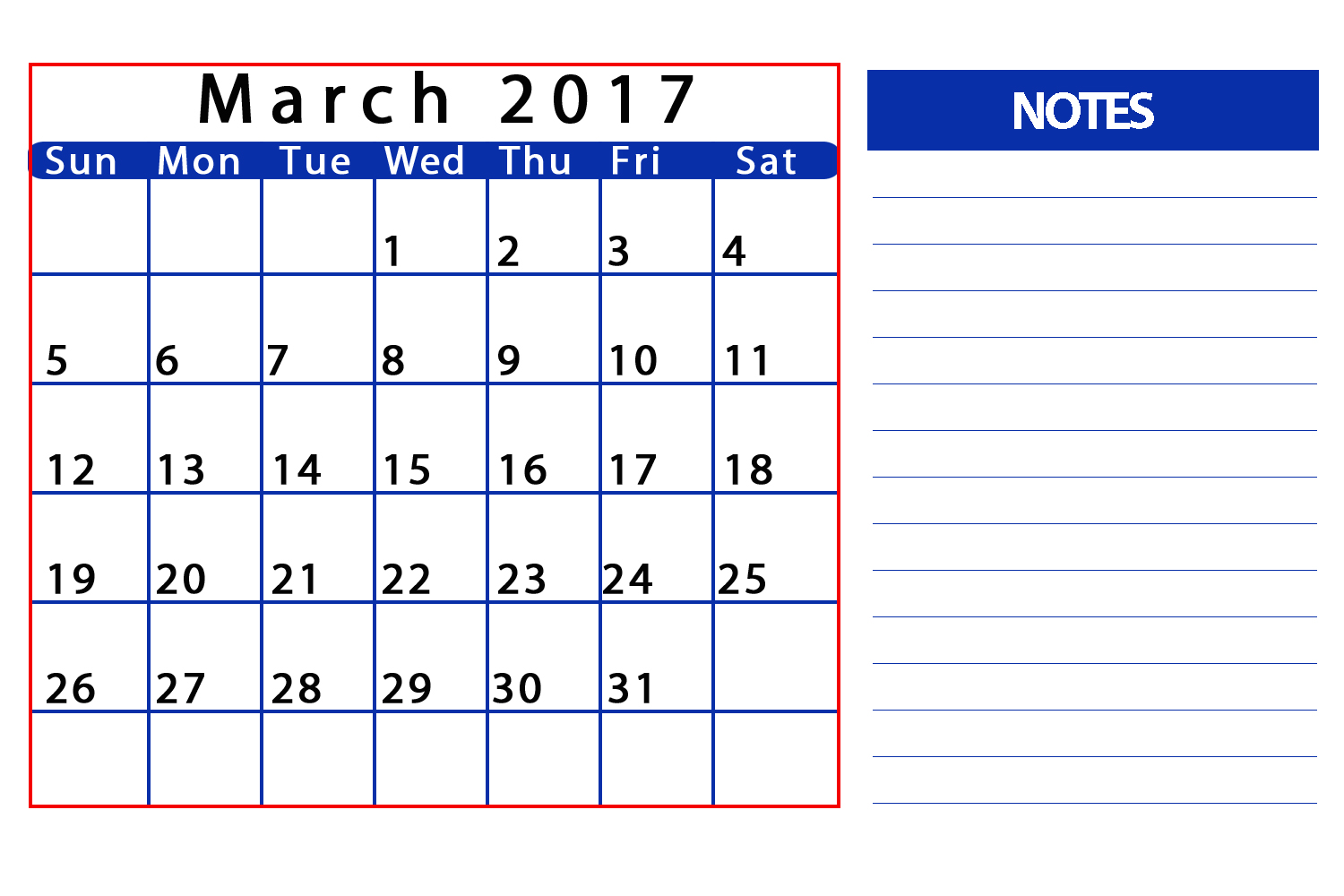 2017 March Calendar with Notes
