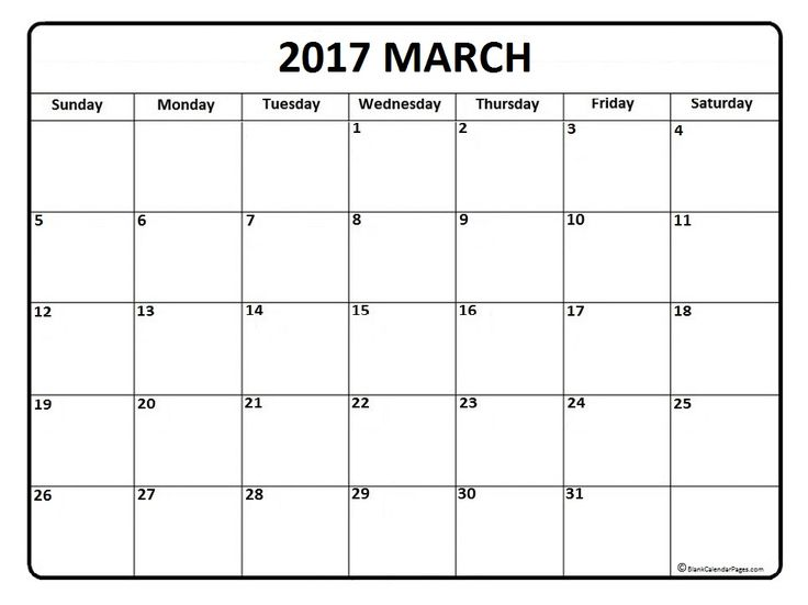 2017 March calendar printable and free blank calendar