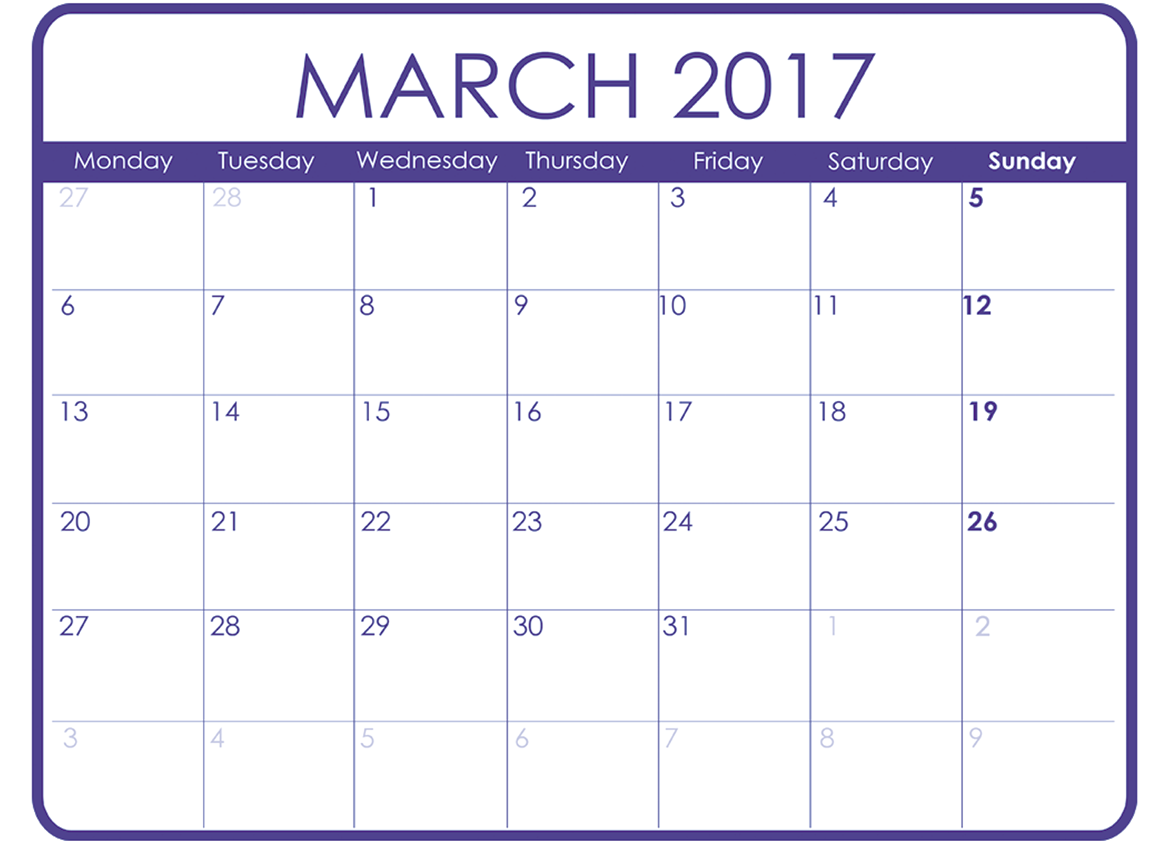 2017 March Calendar Printable Templates PDF Word Doc UK Australia USA