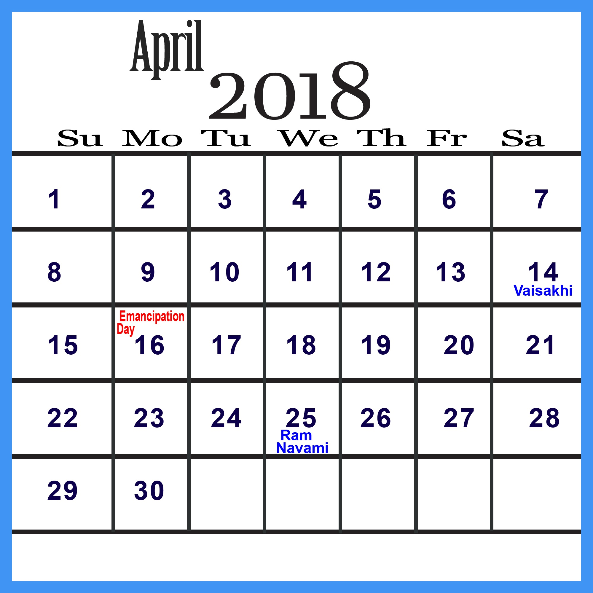 April 2018 Calendar With Holidays Download
