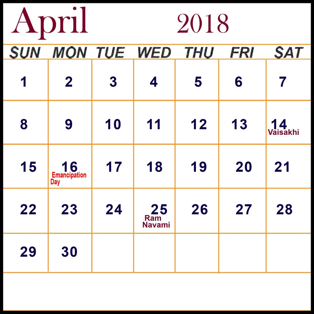 April 2018 Calendar With Holidays Philippines