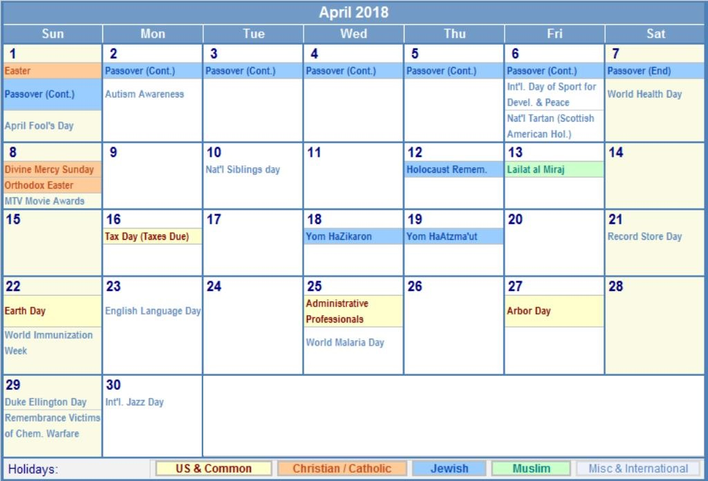 April 2018 Calendar With Holidays South Africa