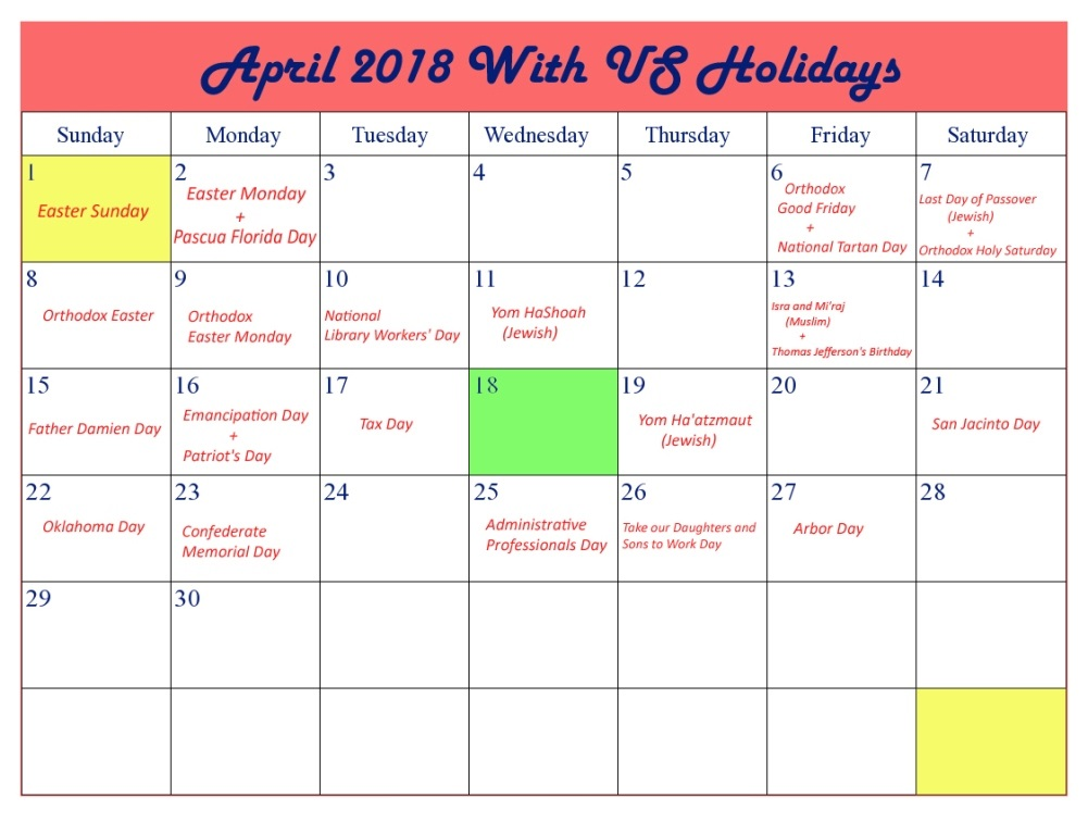 april 2018 calendar with holidays uk